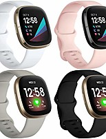 cheap -compatible for fitbit sense bands for women men (4 pack) and fitbit versa 3 bands soft waterproof silicone straps bands for versa 3 and sense smartwatch black white pink sand gray small