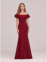 cheap -Mermaid / Trumpet Sexy bodycon Engagement Formal Evening Dress Off Shoulder Short Sleeve Floor Length Jersey with Appliques 2020