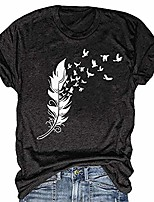 cheap -women's short-sleeved t-shirt feather dove pattern printed loose o-neck short-sleeved tops (m, dark gray)