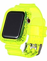 cheap -strap bracelet accessories for apple watch series 5/4/3/2/1 watch band tpu clear, smart watch band with case compatiable, soft silicone sport replacement strap (38-40mm, green)