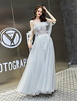 cheap -A-Line Elegant Luxurious Wedding Guest Prom Dress Illusion Neck Short Sleeve Floor Length Tulle with Lace Insert 2020