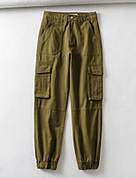 cheap -Women's Basic Streetwear Comfort Daily Going out Jogger Tactical Cargo Pants Solid Colored Full Length Pocket Black Army Green