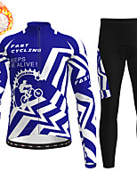cheap -21Grams Men's Long Sleeve Cycling Jersey with Tights Winter Fleece Polyester Black / Yellow Black Blue Gear Bike Clothing Suit Fleece Lining Breathable 3D Pad Warm Quick Dry Sports Graphic Mountain