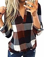 cheap -plus size plaid shirt, women roll up long sleeve plaid pullover sexy v neck tops casual loose tunic t-shirts blouses