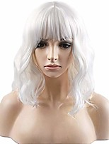 cheap -14'' short curly women girl's charming synthetic wig with air bangs wig cap included (white)