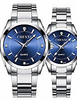 cheap -luxury couple watch fashion stainless steel lovers quartz wrist watches for women & men analog wrist watch