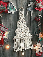 cheap -Christmas Hand Woven Macrame Wall Hanging Ornament Bohemian Boho Art Decor Home Bedroom Living Room Decoration Nordic Handmade Tassel Cotton Christmas Tree