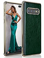 cheap -samsung galaxy s10 plus case, slim premium leather luxury pu soft flexible bumper non-slip grip shockproof full body protective cover phone cases for galaxy s10 plus (2019) - forest green