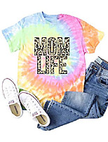 cheap -tie dye shirt for women, leopard mom life graphic tees, funny letter print short sleeve casual t-shrit tops (yellow, large)