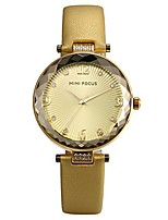 cheap -ladies japan quartz 3atm waterproof bracelet bangle leather band analog watch with crystal rhinestone dial (gold)