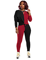 cheap -Women's 2 Piece Set Patchwork Crew Neck Color Block Sport Athleisure Clothing Suit Long Sleeve Comfortable Everyday Use Casual / 2pcs / pack / Stretchy