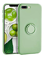 cheap -iphone 8 plus case silicone iphone 7 plus case, liquid silicone case with ring holder kickstand work with magnetic car mount shockproof soft slim fit phone cover case for apple 7 plus,green