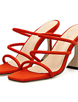 cheap -Women's Sandals Flare Heel Square Toe Sweet Daily Walking Shoes Nubuck Solid Colored Black Orange