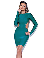 cheap -A-Line Sexy bodycon Party Wear Cocktail Party Dress Jewel Neck Long Sleeve Short / Mini Spandex with Crystals 2020