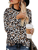 cheap -women's leopard print top long sleeves crew neck allover cheetah animal print t-shirt camel m