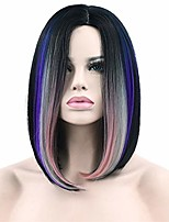 """cheap -short bob straight wig 14"""" women's ombre shoulder length synthetic hair wigs with free wig cap for women 3 tone pink grey blue"""