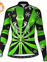 cheap -21Grams Women's Long Sleeve Cycling Jersey Winter Fleece Polyester Purple Red Green Christmas Santa Claus Bike Jersey Top Mountain Bike MTB Road Bike Cycling Fleece Lining Warm Quick Dry Sports