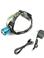 cheap -xm-l t6 led headlamp for camping, running, hiking, reading, 3 modes rechargeable, hands-free camping headlight light flashlight zoomable,blue and gold color available (blue)