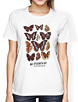 cheap -women butterfly printed graphic loose t-shirt short sleeve round neck causal tee top white