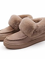 cheap -suede winter snow booties for women, warm plush faux fur lining slip on boots shoes, anti-slip indoor outdoor rubber sole short moccasins