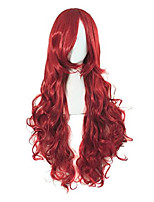 "cheap -31.5"" long curly wavy hair costume party straight wig (wine red)"