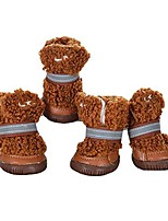 cheap -dog snow boots soft sole shoes, plush boots high-top booties anti-slip nonslip shoes boots for small dogs
