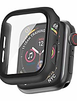 cheap -hankn for apple watch case 40mm se series 6 5 4 tempered glass screen protector black, matte hard pc 9h full coverage protective shock-proof cover iwatch bumper (black 40mm)