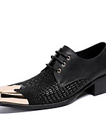 cheap -Men's Oxfords Business Casual British Daily Party & Evening Cowhide Handmade Non-slipping Wear Proof Black Fall Winter / Square Toe