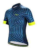 cheap -21Grams Men's Short Sleeve Cycling Jersey Polyester Blue Floral Botanical Bike Jersey Top Mountain Bike MTB Road Bike Cycling Breathable Quick Dry Reflective Strips Sports Clothing Apparel / Stretchy