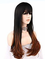 cheap -fraysmi hair black brown long straight hair with bangs for women and ladies synthetic full wig (black brown)