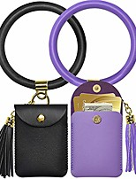 cheap -keychain bracelet,2 pack key ring bracelet and card pocket leather tassel