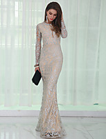 cheap -Mermaid / Trumpet Sexy Sparkle Prom Formal Evening Dress Jewel Neck Long Sleeve Floor Length Sequined with Sequin 2020