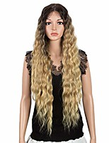 """cheap -lace front with 1.5""""x4"""" simulated scalp wig 30'' long wavy heat resistant synthetic wigs for black women 130% density(ombre blond 2)"""