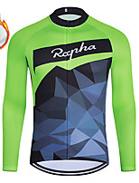 cheap -WECYCLE Men's Women's Long Sleeve Cycling Jersey Winter Fleece Polyester Green Geometic Bike Jersey Top Mountain Bike MTB Road Bike Cycling Fleece Lining Breathable Warm Sports Clothing Apparel
