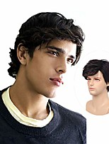 cheap -mens black layered wig for men short fluffy curly synthetic halloween cosplay costume hair full wigs
