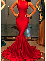 cheap -Mermaid / Trumpet Elegant Minimalist Wedding Guest Formal Evening Dress Jewel Neck Sleeveless Court Train Spandex with Pleats 2020