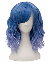 cheap -candy wigs, fashion 35cm short curly bob anime cosplay wig daily party christmas halloween synthetic heat resistant wig for women +free wig cap (ombre pastel blue side bang)