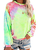 cheap -tie dye sweatshirt for women crewneck colorful printed long sleeve pullover shirt yellow & pink m