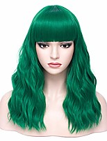 """cheap -halloweencostumes 18"""" womens length curly wavy wig with bangs synthetic party halloween wigs wig cap included (dark green)"""