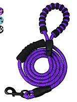 cheap -6 ft dog rope lead, double soft padded handle dog leash, highly reflective dog lead threads for puppy and medium large dogs … (black)