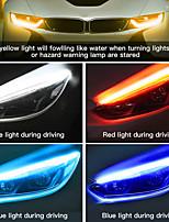 cheap -2x Ultrafine DRL 30 45 60cm Daytime Running Light Flexible Soft Tube Guide Car LED Strip White Red Turn Signal Yellow Waterproof