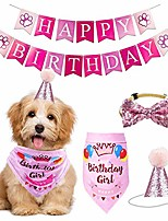 cheap -dog birthday bandana hat banner set, cat pet happy birthday adorable hat banner cute neckerchief ties for boys and girls, party accessories, birthday gift decorations (pink)