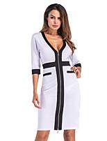 cheap -Women's Shift Dress Knee Length Dress - 3/4 Length Sleeve Solid Color Zipper Patchwork Fall V Neck Plus Size Work Elegant 2020 White S M L XL XXL 3XL 4XL