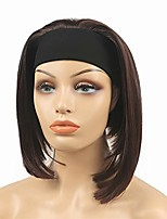 cheap -short straight wave headband synthetic heat resistant women cosplay wigs red wine
