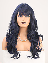 cheap -Cosplay Costume Wig Synthetic Wig Wavy Body Wave Middle Part Neat Bang Wig Long Black / Blue Synthetic Hair Women's Odor Free Fashionable Design Soft Mixed Color / Heat Resistant