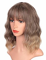 cheap -short brown wigs wavy bob wig with bangs women's shoulder length synthetic curly pastel bob wig for girl colorful cosplay wigs (ombre blonde)