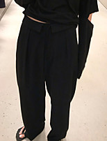 cheap -Women's Streetwear Comfort Daily Going out Pants Chinos Pants Solid Colored Full Length Pocket Black
