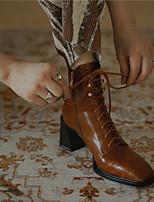 cheap -Women's Boots Chunky Heel Square Toe Daily PU Synthetics Dark Brown Black