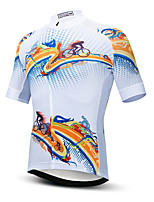 cheap -21Grams Men's Short Sleeve Cycling Jersey Orange+White Bike Jersey Top Mountain Bike MTB Road Bike Cycling UV Resistant Breathable Quick Dry Sports Clothing Apparel / Stretchy / Reflective Strips
