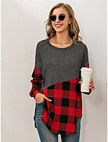 cheap -Women's Shirt Color Block Long Sleeve Patchwork Round Neck Tops Streetwear Basic Top Red